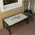 low wooden coffee table with tiled top